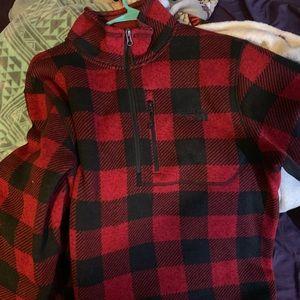 red & black north face half zip